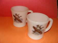 White Milk Glass Fire King Canada Goose D Handle 2 Mugs
