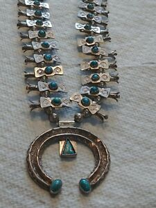 Vintage Navajo Old Pawn Sterling Silver Turquoise Necklace