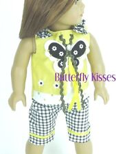 Butterfly Checks & Bows Capri Set 18 in Doll Clothes Fits American Girl Dolls
