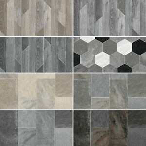 Quality Vinyl Flooring Roll Wood Plank & Tile Effect Lino CHEAP Kitchen Bathroom