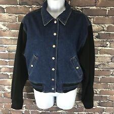 Vintage Authentic Liz Claiborne Denim Jacket Size Medium Fleece Arms Jean