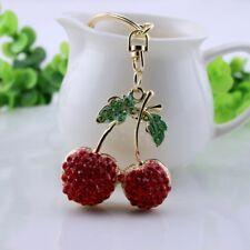 Red cherry  crystal Keychain Keyring Handbag Accessory Charm Pendant
