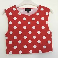 Polka Dot Spot Print Crop Top Topshop Size 10 Jersey Red White Fifties Style