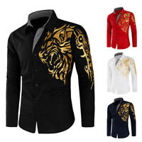 Mens Retro Plaid Dragon Print Patchwork Long Sleeve Tees Summer Party T Shirts