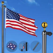 Heavy Duty Aluminum 20'-30'' Sectional Flag Pole Kit w/Us Flag Can Flay 2 Flags