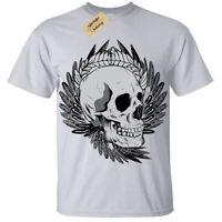 Skull biker punk metal goth rock alternative cool T-Shirt Mens Tee