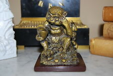 NICE VINTAGE ORIENTAL GOLD TONED MONKEY FIGURINE MADE OF HARD RESIN OR ACRYLIC
