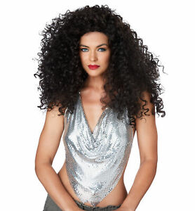 Disco Diva Do 1970s 1980s Big Hair Tight Curly Brunette Womens Costume Wig