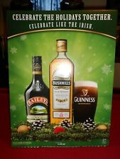 Guinness Baileys Bushmills Irish Christmas Holiday Cardboard Standup Bar Sign