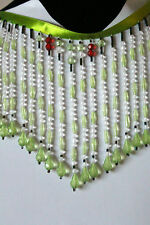 "Handmade Very Beautiful 6"" Beaded Fringes Trim Light Green/Red/White   B"