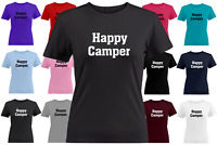 Happy Camper Juniors Girls Women Teen Tee T-Shirt Gift Shirts Camp Camping