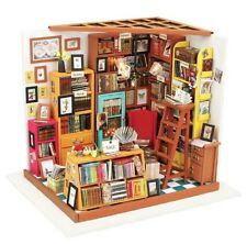 DIY Dollhouse Miniature Library Room Model Building Kit Children Educational Toy
