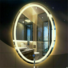 Anti-Fog Oval LED Lighted Wall Mounted Mirror with Touch Screen for Bathroom AU