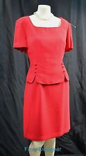 CWC Coldwater Creek red mock 2 piece shift dress suit S/S knee Size 14 P NWT $79