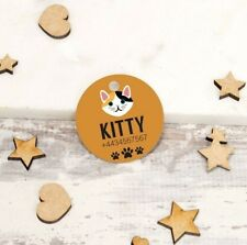 Personalised Pet Tags Engraved Cat ID Collar Dog 25mm Paw Print Custom Made