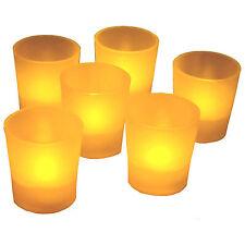 New Flickering Amber 6 Flicker Light Flameless LED Tealight Votive Tea Candles