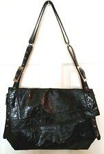 Kooba Womens XL Black Patent Leather Expandable Shoulder Bag Adjustable Straps