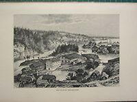 C1890 Antico Stampa ~ The Falls Di Trollhattan ~ Sweden