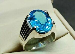 Oval Cut 12 Carat Fresh Blue Topaz Sterling Silver 925 Handmade Topaz Mens Ring