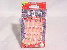 IT GIRL NAILS PRE-GLUE 20 NAIL #D211 #GOLD GLITTER W/ PINK AND WHITE FRENCH TIP