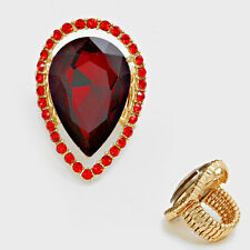PEAR RED Ruby Stretch RHINESTONE RING/PAGEANT/COSTUME/CROSSDRESSER/DRAG QUEEN