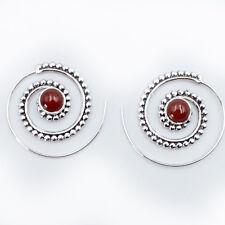 Karneol Creolen Durchzieher Ohrringe Silber 925  Ohr Spirale Ohrhänger Rot  STS