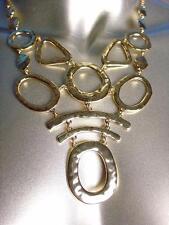 GORGEOUS Artisanal Gold Metal Bib Drape Statement Necklace Earrings Set