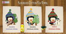 CHRISTMAS PENGUIN PERSONALISED TEA TOWEL 100% COTTON GIFT SANTA XMAS