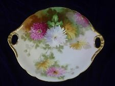 LIMOGES Antique J. Pouyat Hand Painted Cake Plate, Mums, Gold Handles, Signed