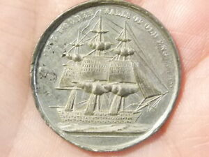 1848 Britain's Hope Medal Prince of Wales SAILING SHIP Medal Counter  #M3