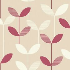 ANIKA RED/CREAM LEAF  WALLPAPER