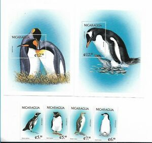 NICARAGUA 1999, MARINE BIRDS, PENGUINS, FAUNA, 2 MS + 2 SS + 4 VALUES SC 2270-76
