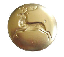 "**CHRISTMAS---OL'SANTA""S REINDEER 1 1/8""  BUTTONS BRIGHT BRASS FINISH*******"