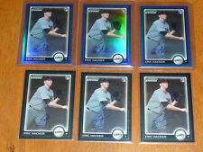 Lot (6) ERIC HACKER 2010 Bowman Chrome AUTO Autograph w/BLUE REF Yankees Giants