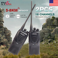 2PCS Kendwood Ham Radio 2-Way UHF FM 440-490MHZ Walkie Talkie 16CH Long Range