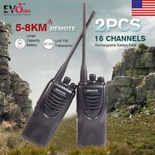 2PCS Kendwood Ham Radio 2-Way UHF FM 440-490MHZ Walkie Talkie 16CH Long Range