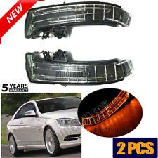 Pair LED Mirror Marker Turn Signal Light Lens For Mercedes W204 W212 W205 W164