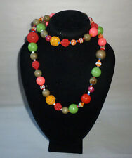 Vintage Wood Plastic Cloth Cased Chunky Colorful Bead Fashion Necklace - FN0153