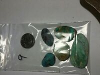Turquoise/ Chrysocolla Rough Preform Backed Lapidary Lot Mixed Mines Jewelry