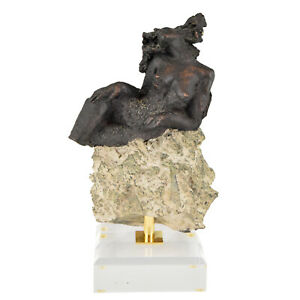 Sculpture nude on a rock Andres Peralta signed and numbered
