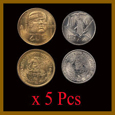 Mexico 10 20 Centavos (Cent) Coin Set x 5 Pcs, 1977-1984 Eagle Snake Olmeca