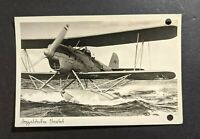 1940 German Water Biplane Landing RPPC Cover Heiligenhafen Germany