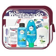 10-PIECE WOMAN ON-THE-GO TRAVEL KIT Shampoo Conditioner Deodorant Lotion Cosmeti