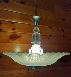 Antique 1920's-30's Art Deco Lightolier Grand Slip Shade Chandelier Light/Lamp