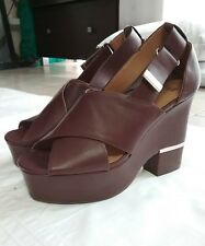 H&M Chunky Red & Brown High Platform Block Heel Shoes Size 39