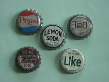 Five Different Soda Cork Bottle Caps PEPSI, LIKE, TAB, NEHI & Lemon Soda