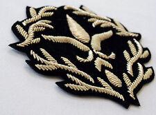 """2 Hand-Embroidered renaissance Appliques Flower Vine Gold Bullion Patch 3.5""""x3"""""""