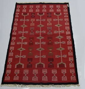 4 x 5 ft Red Color Modern Turkish Flat-weave, 100% Handmade Woolen New Kilim