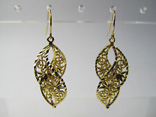 Solid 14K 14KT Yellow Gold Twisted Spiral Filigree Pierced Earrings 2.9 Grams