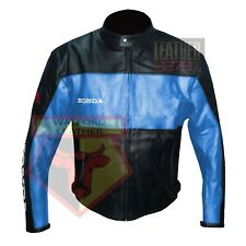 HONDA 5525 SKY BLUE MOTORBIKE COWHIDE LEATHER MOTORCYCLE BIKERS ARMOURED JACKET